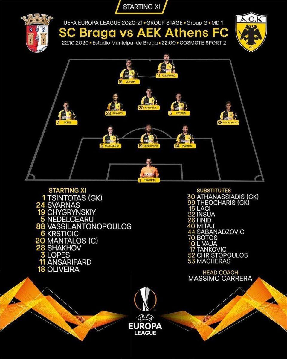 کریم انصاریفرد در ترکیب آاک آتن مقابل براگا در لیگ اروپا