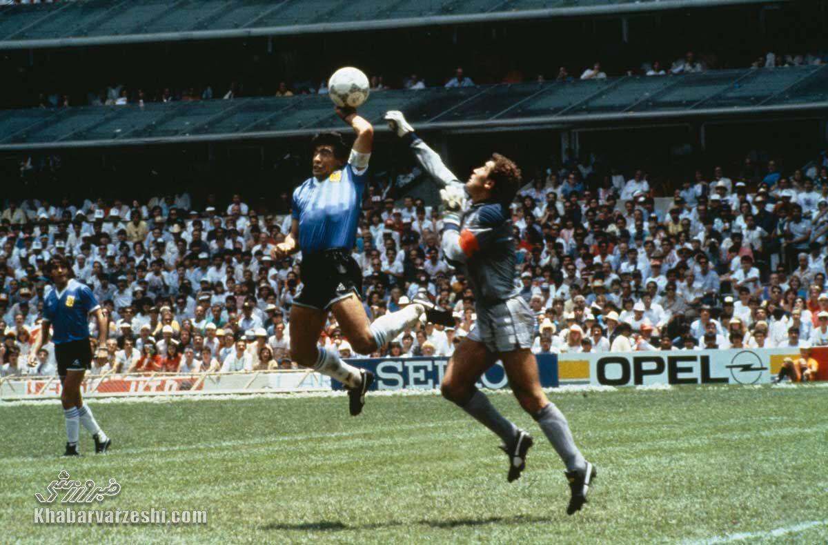 گل دست خدا دیگو مارادونا به انگلیس در جام جهانی 1986