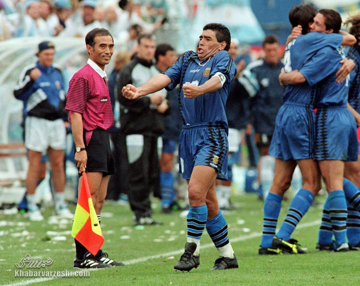 آخرین بازی دیگو مارادونا در جام جهانی با پیراهن آرژانتین مقابل یونان