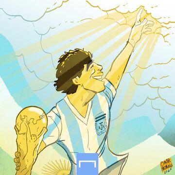 کارتون| دیگو مارادونا به آسمان رفت