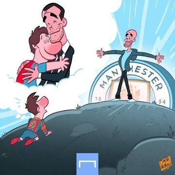 کارتون| لیونل مسی در آغوش پپ گواردیولا!