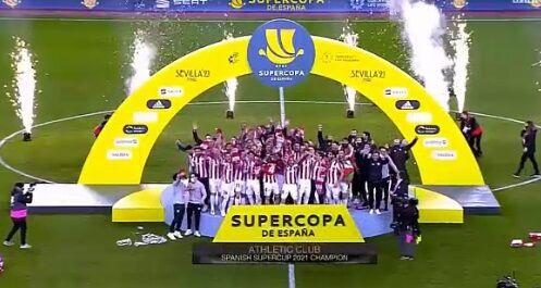 ویدیو| جشن قهرمانی اتلتیک بیلبائو در سوپرجام اسپانیا