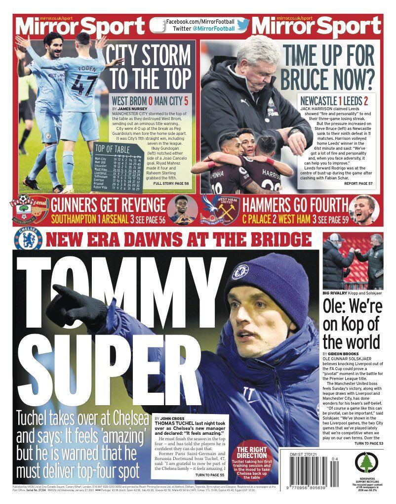 روزنامه میرر  سوپر تامی