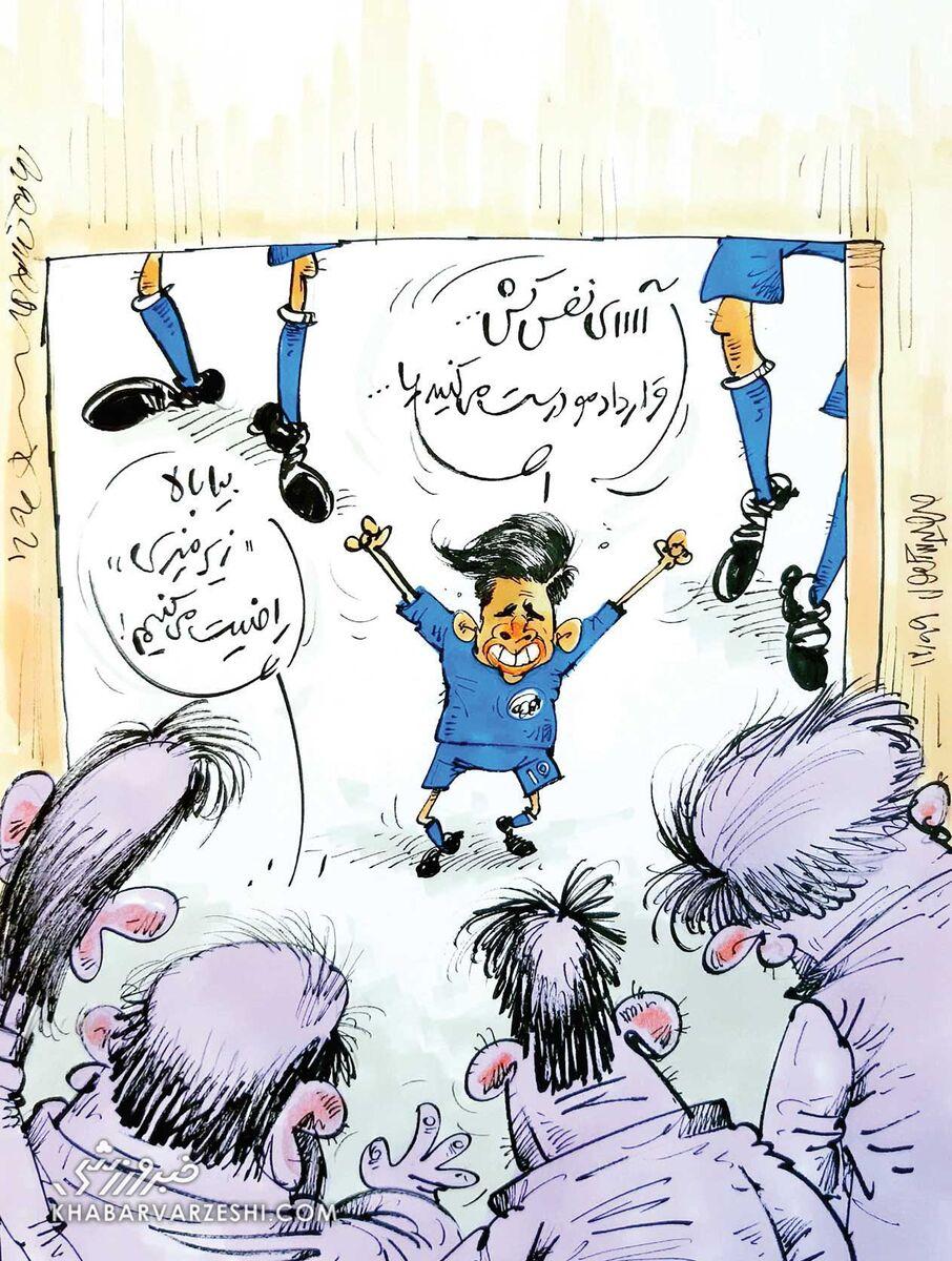 کارتون محمدرضا میرشاهولد درباره قرارداد مهدی قایدی