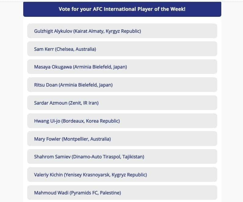آزمون نامزد بهترین لژیونر هفته آسیا