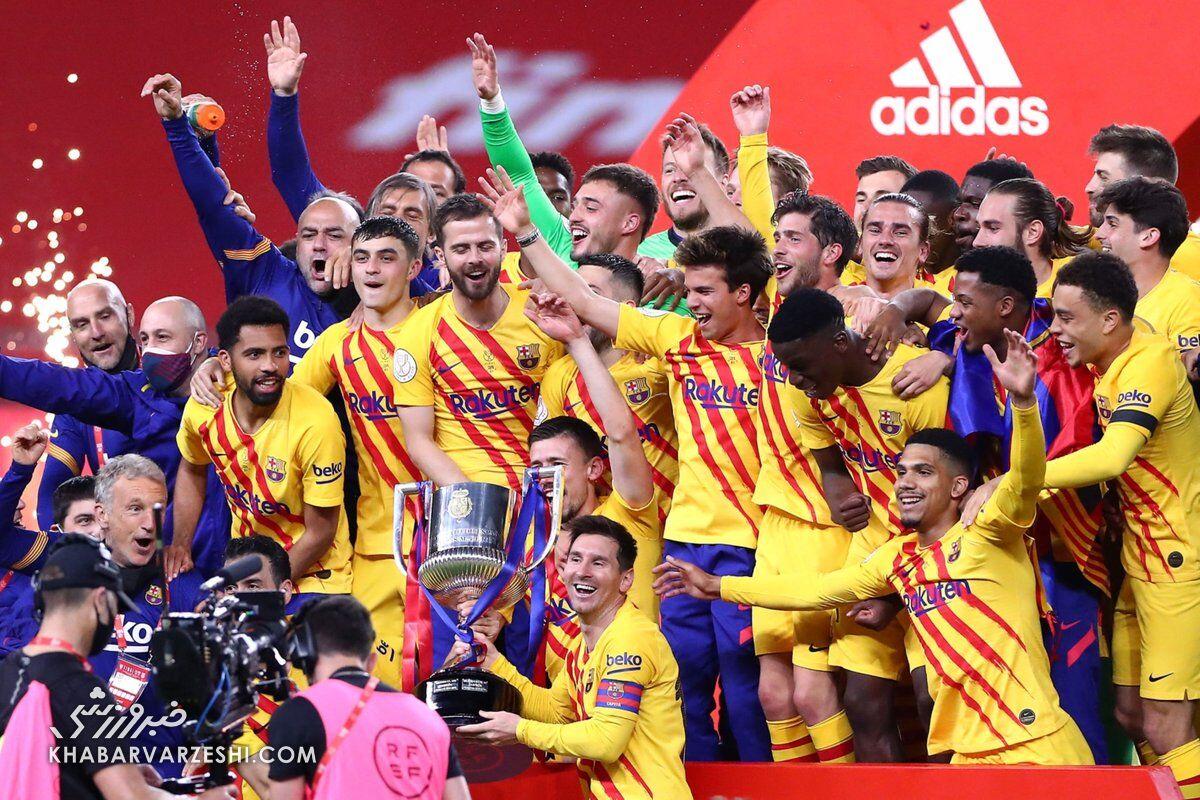 ویدیو| مراسم اهدای جام قهرمانی کوپا دل ری به بارسلونا
