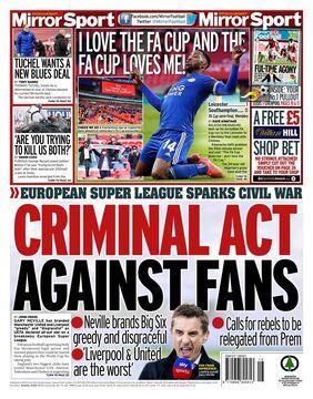 روزنامه میرر| عمل مجرمانه علیه هواداران