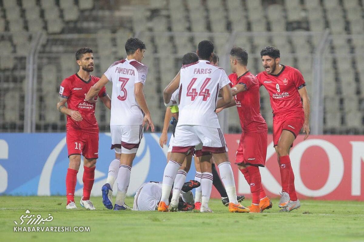 درگیری ۲ بازیکن ایرانی با اماراتیها در حاشیه بازی الوحده و پرسپولیس