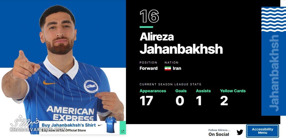 واکنش باشگاه برایتون به اعتراض ایرانیها درباره حذف پرچم ایران مقابل اسم جهانبخش