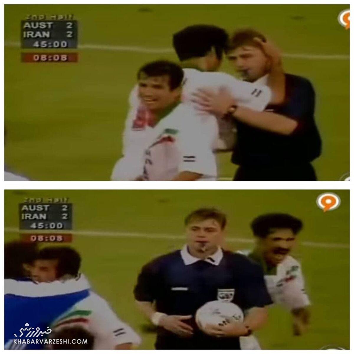 تصویری از لحظه تاریخی تشکر علی دایی از داور بازی ایران و استرالیا