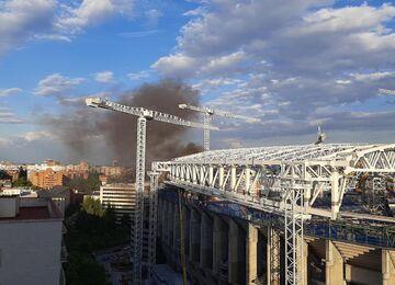 عکس  آتش سوزی در ورزشگاه رئال مادرید