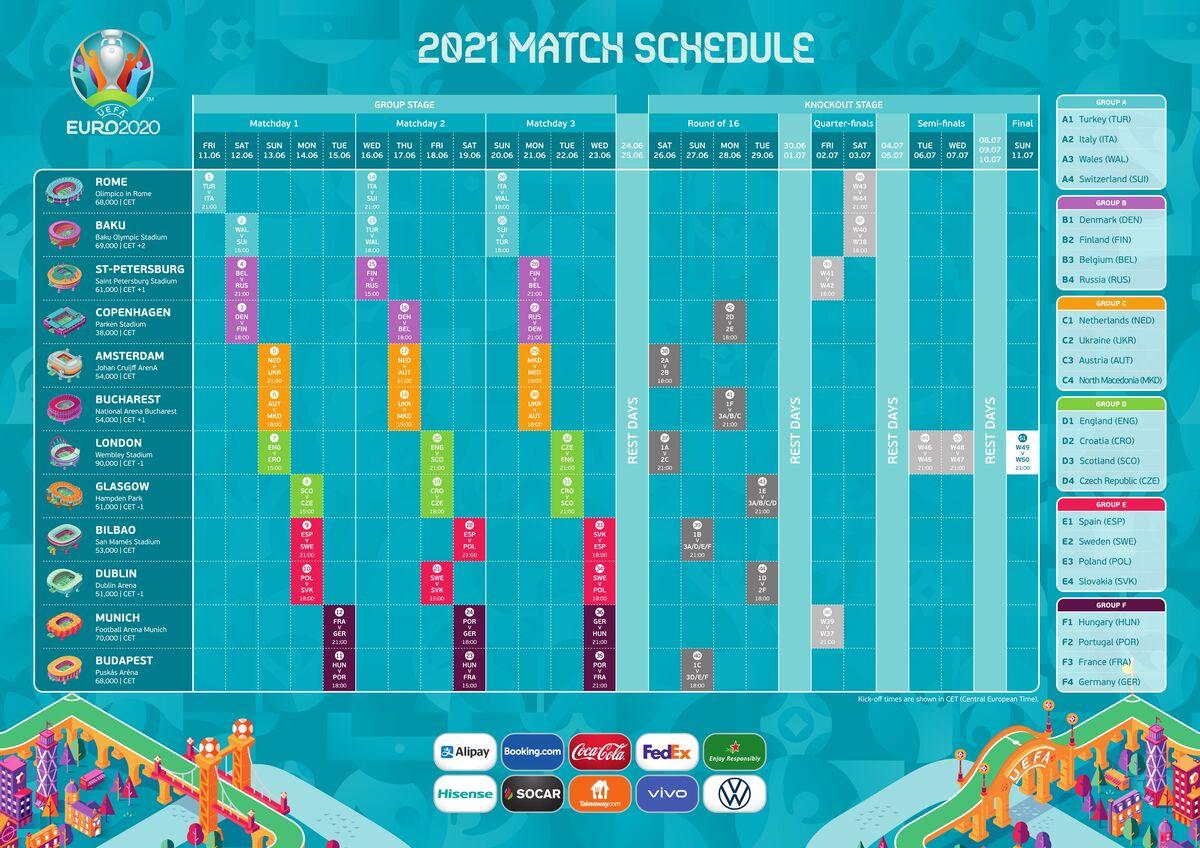 برنامه کامل مسابقات یورو 2020 (کیفیت بالا)