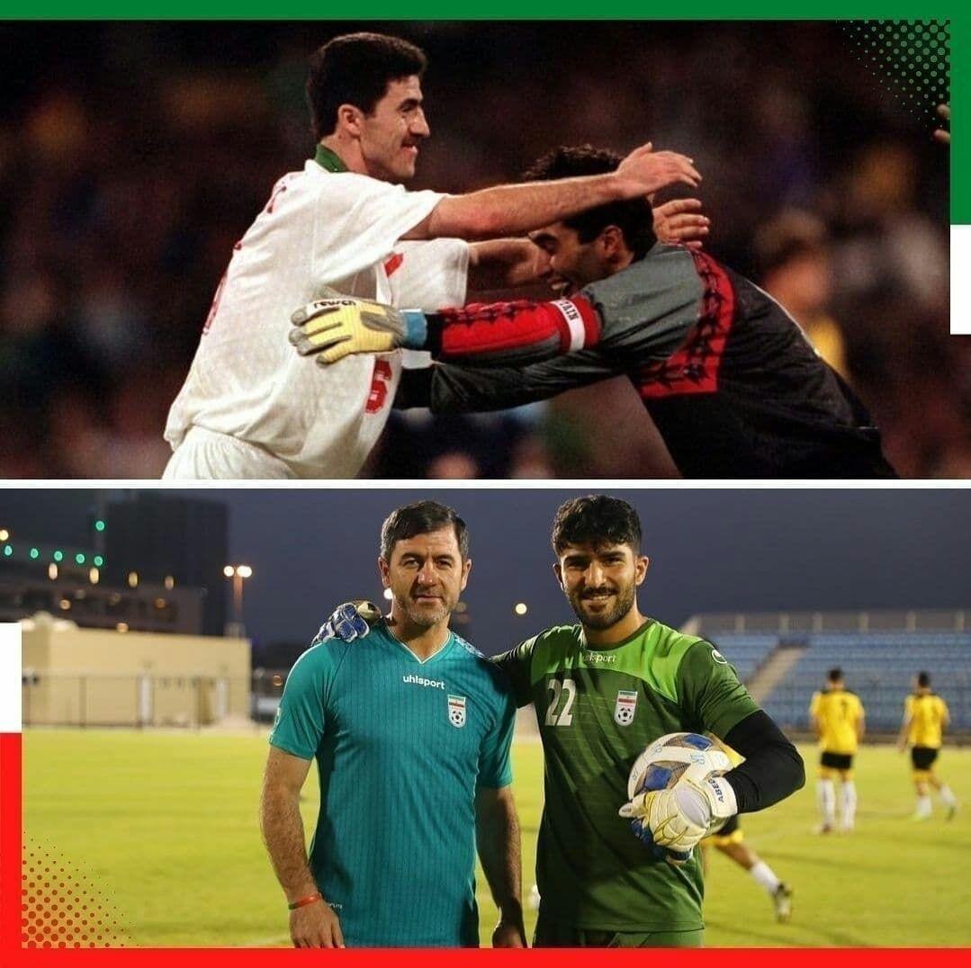 دو عکس عالی از کریم باقری با عابدزاده های فوتبال ایران