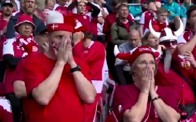 ویدیو| هم صدایی هواداران دانمارک و فنلاند برای کریستین اریکسن