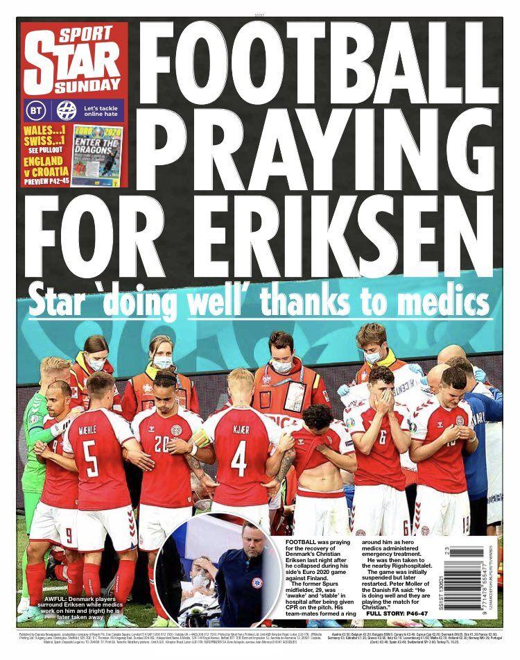 روزنامه استار| فوتبال برای اریکسن دعا میکند