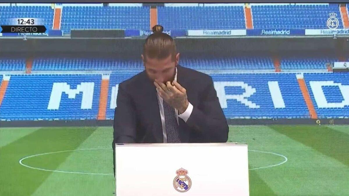 ویدیو  اشکهای سرخیو راموس در مراسم جدایی از رئال مادرید