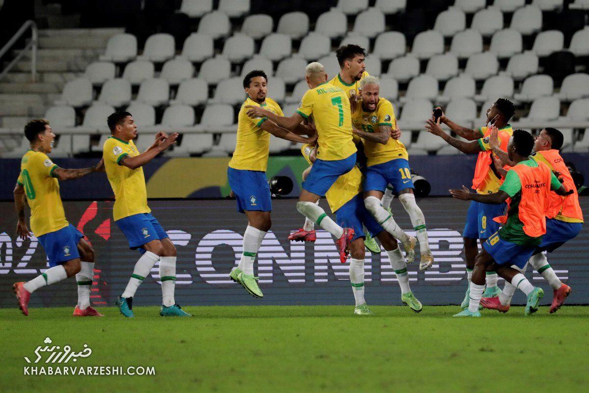 کامبک برزیل در دقیقه ۱۰۰/ صعود سلسائو بهعنوان صدرنشین