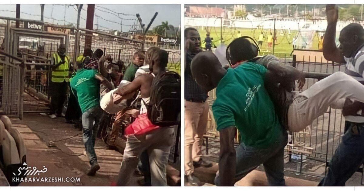 تصاویر باورنکردنی از بیرون کردن یک خبرنگار از ورزشگاه توسط هواداران!