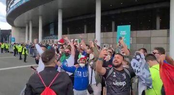 ویدیو  شور و هیجان هواداران ایتالیا هنگام ورود به استادیوم ومبلی
