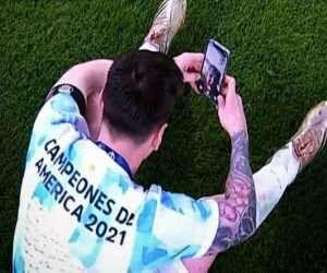 ویدیو  تماس تصویری مسی با همسرش پس از قهرمانی در کوپا آمریکا