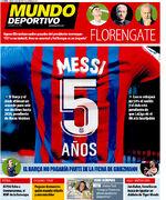 روزنامه موندو  مسی: ۵ سال