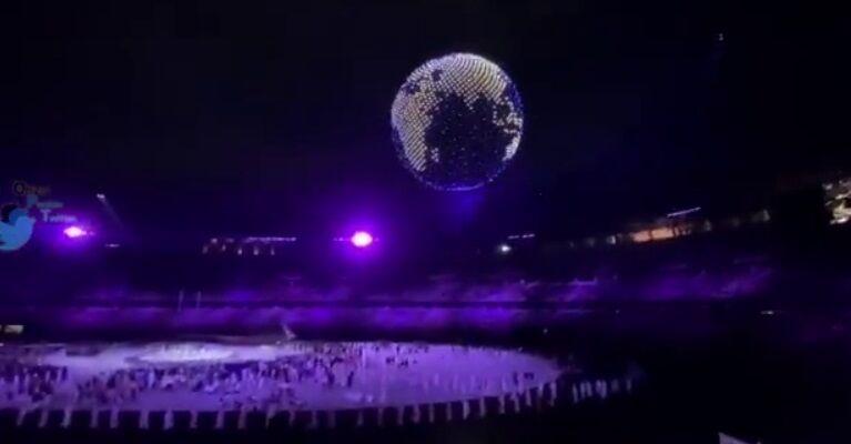 ویدیو| نمایش پهپادی شگفت انگیز مراسم افتتاحیه المپیک متشکل از ۱۸۰۰ پهپاد