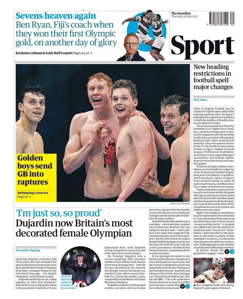 روزنامه گاردین  پسران طلایی شور و شوق را به بریتانیا بردند