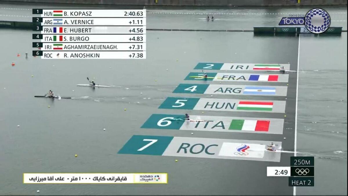 ویدیو  مسابقه علی آقامیرزایی در مرحله مقدماتی قایقرانی کایاک المپیک ۲۰۲۰
