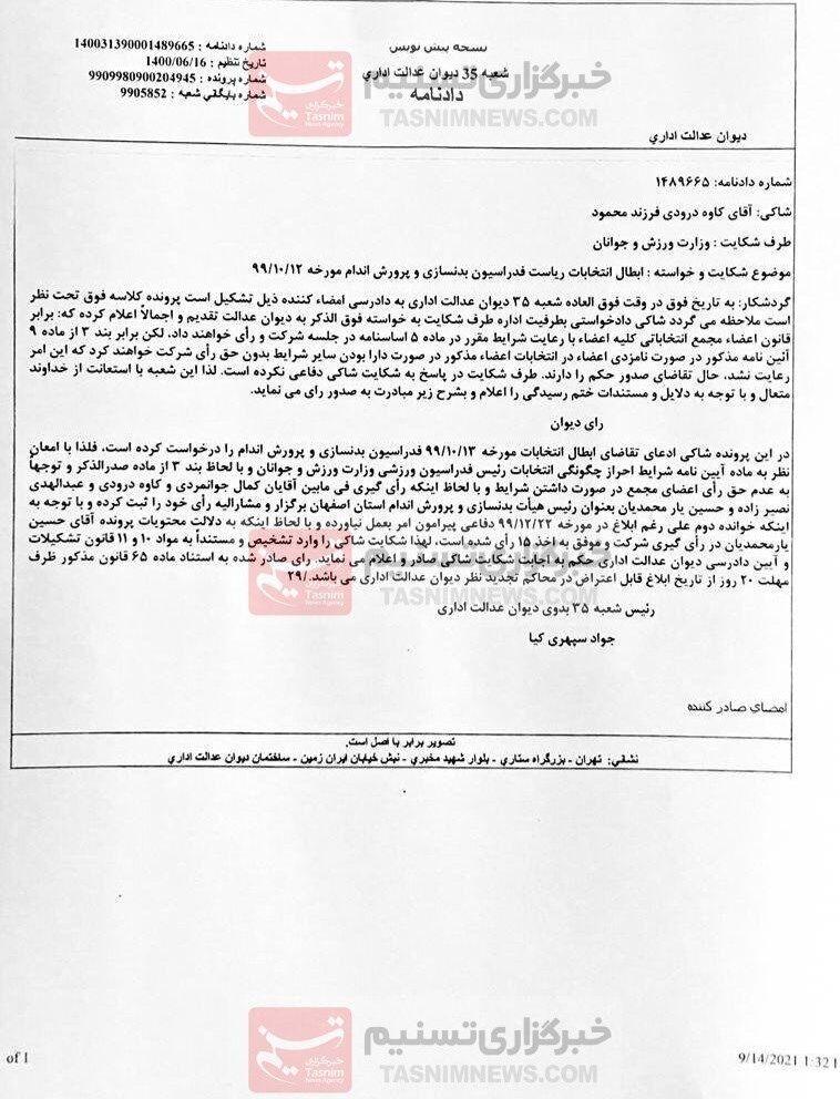 اتفاق عجیب در ورزش ایران/ انتخابات فدراسیون باطل شد
