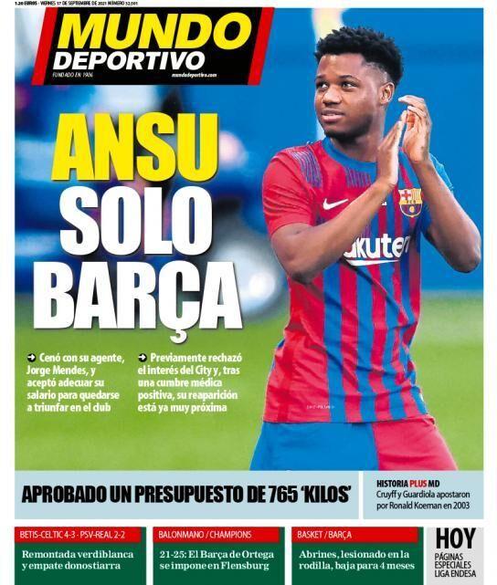 روزنامه موندو| فقط بارسا برای آنسو