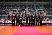 عکس| حرکت زیبای لیبروی والیبال ایران در مراسم قهرمانی آسیا