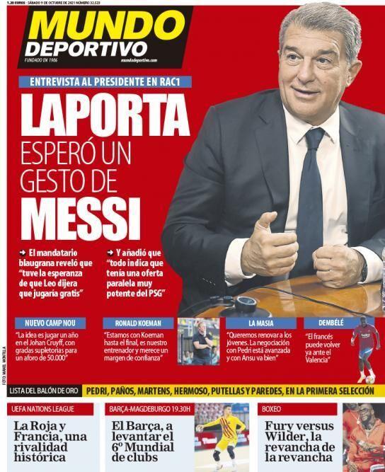 روزنامه موندو| لاپورتا در انتظار حرکت مسی