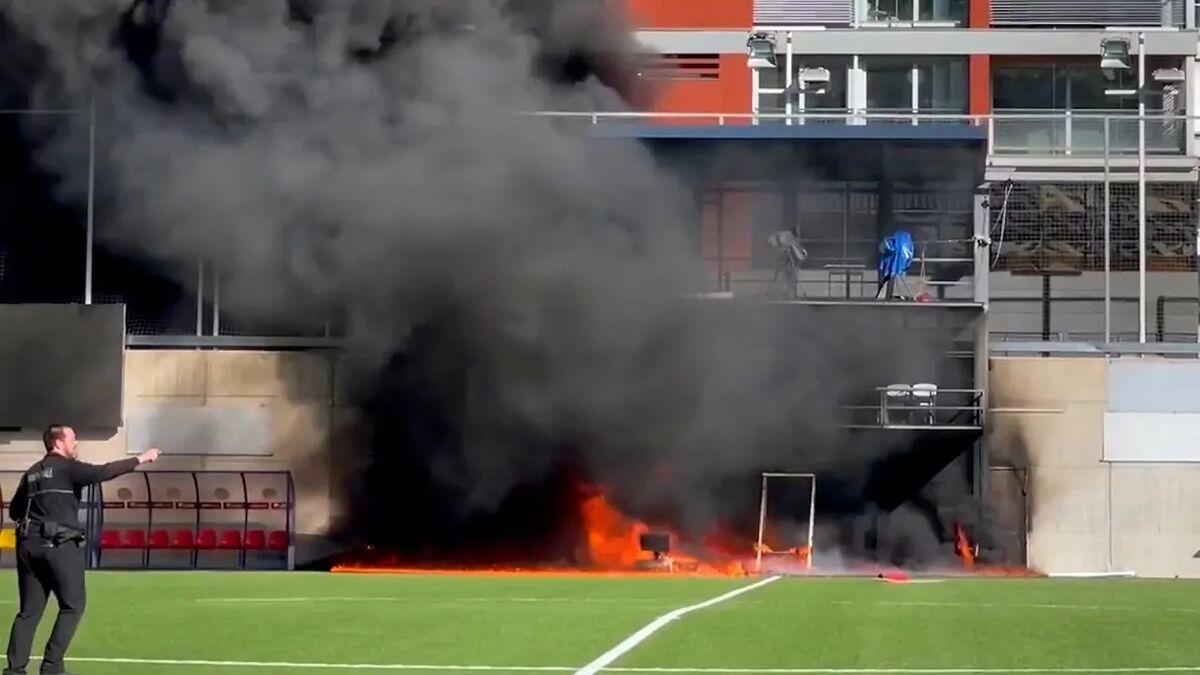 ویدیو  آتش سوزی ورزشگاه تیم ملی آندورا پیش از دیدار با انگلیس