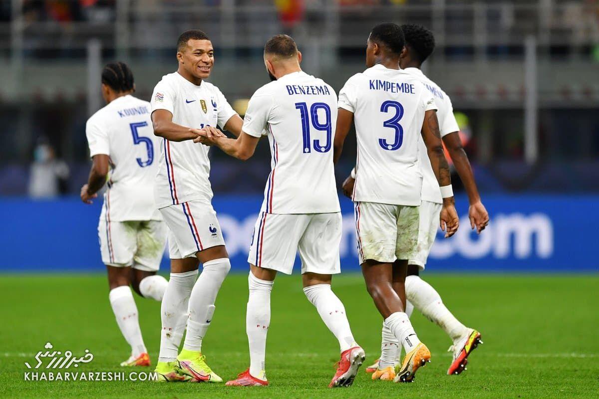 شادی گل بنزما؛ اسپانیا - فرانسه (فینال لیگ ملتهای اروپا 2021)