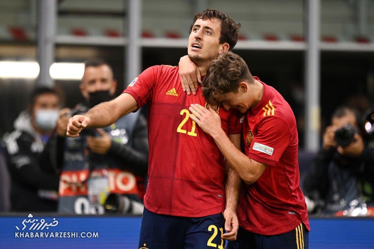 شادی گل اویارسابال؛ اسپانیا - فرانسه (فینال لیگ ملتهای اروپا 2021)
