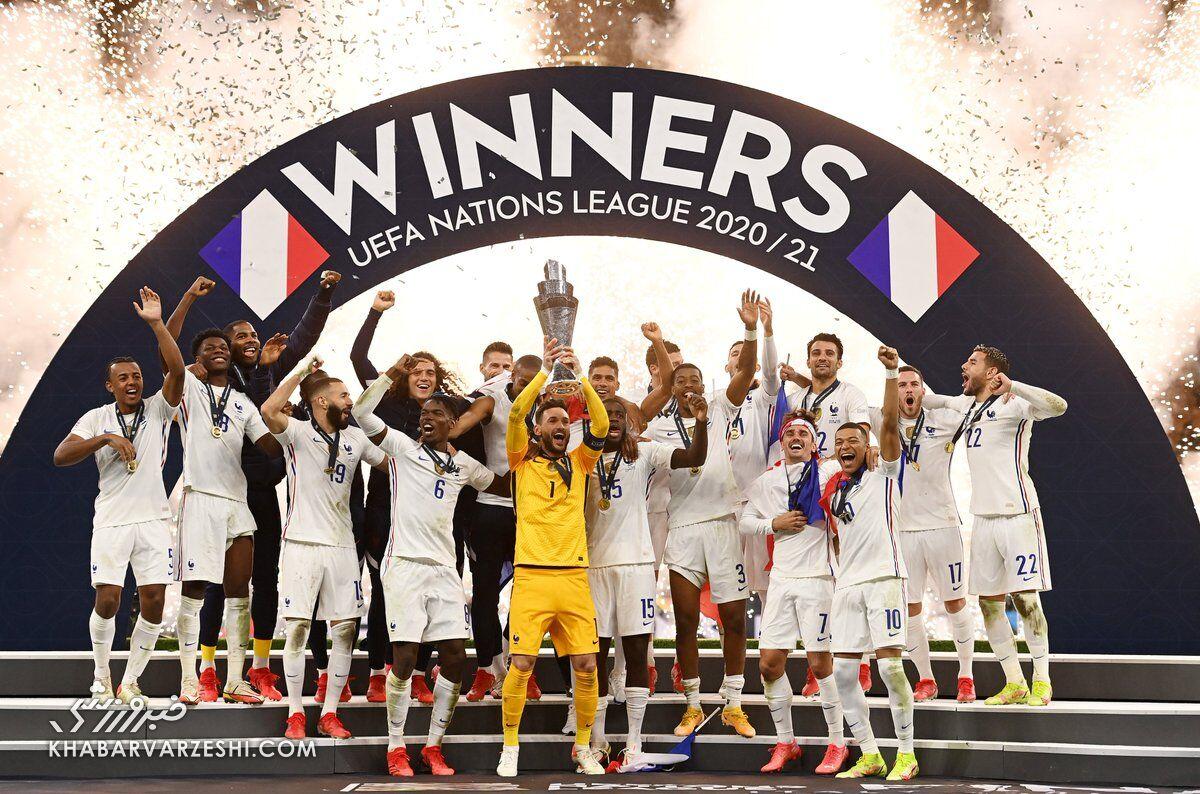 ویدیو| اهدای جام قهرمانی لیگ ملت های اروپا به فرانسه