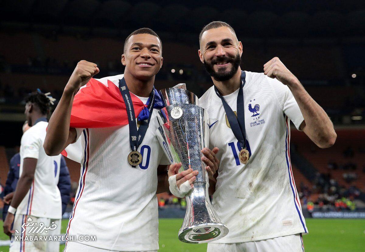 کیلیان امباپه و کریم بنزما؛ جشن قهرمانی فرانسه در لیگ ملتهای اروپا 2021