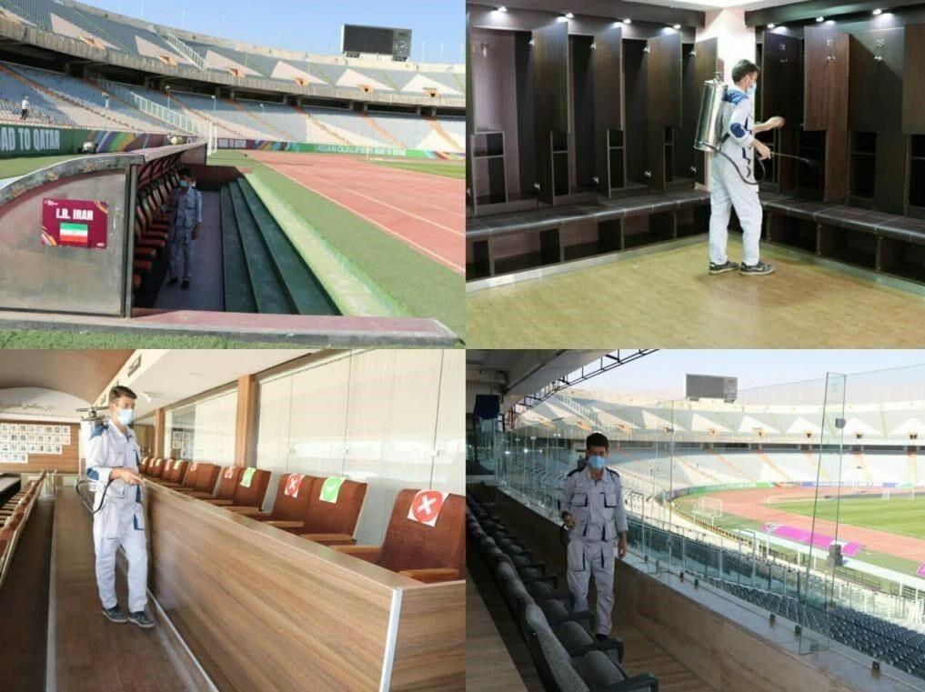 عکس  ضدعفونی شدن ورزشگاه آزادی در آستانه دیدار ایران - کره جنوبی