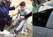 عکس  حادثه رانندگی برای همسر و پسر کاپیتان استقلال