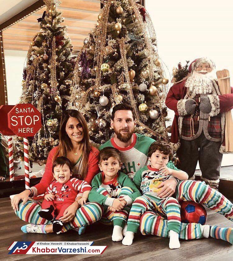 عکس| خانواده رونالدو و مسی کریسمسی شدند
