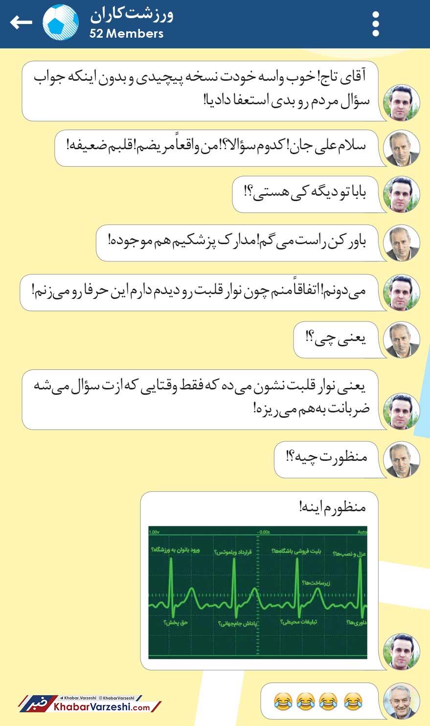 طنز ورزشتکاران میلاد سازمند درباره مریضی قلبی مهدی تاج