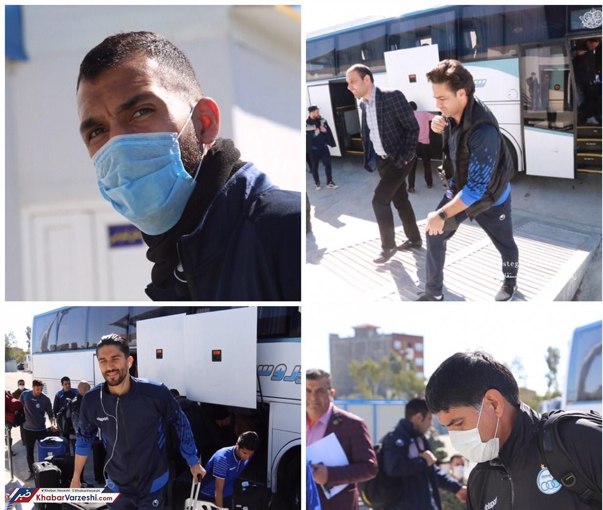 عکس| بازیکنان استقلال با ماسک در ورزشگاه سیرجان