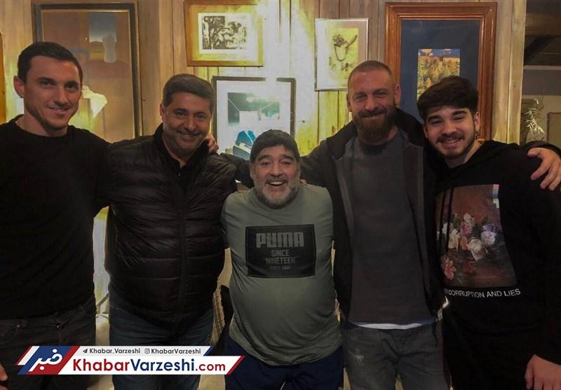 عکس| ملاقات اسطوره رم و مارادونا