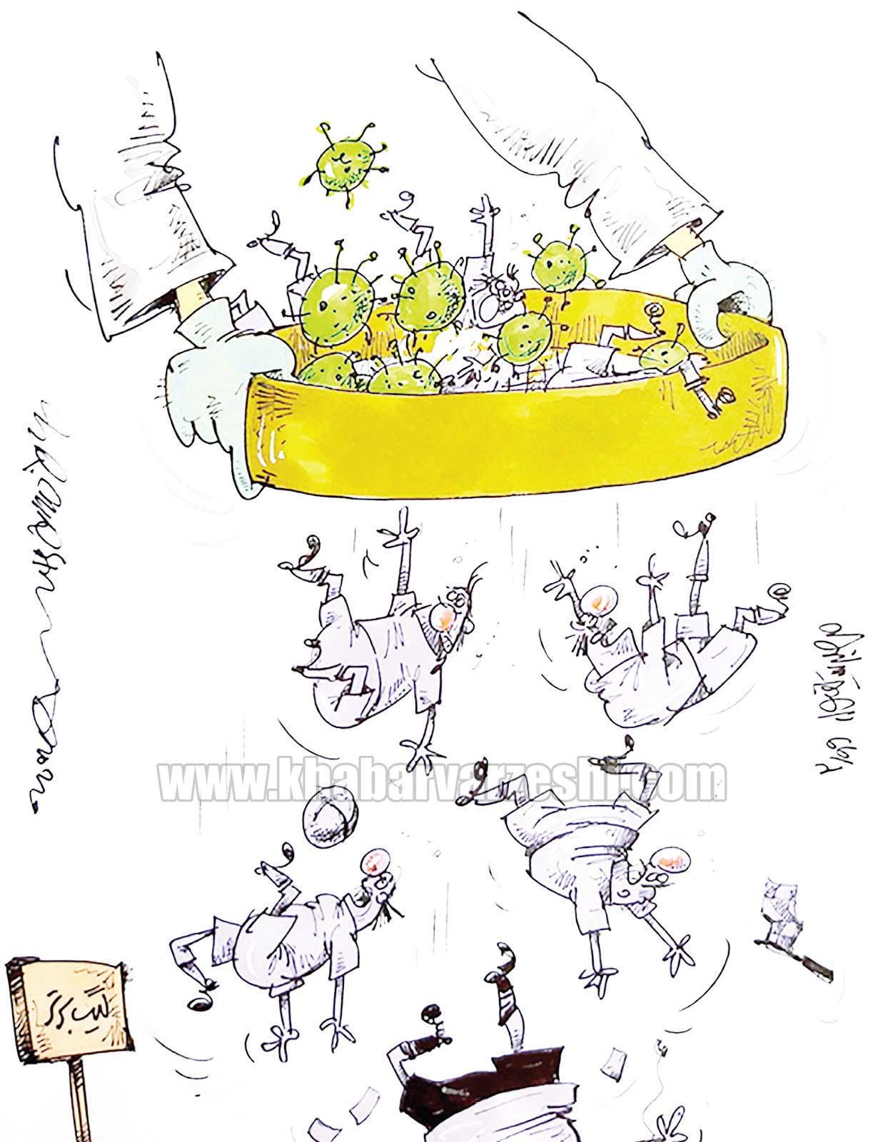 کارتون محمدرضا میرشاهولد درباره ویروس کرونا در ادامه لیگ