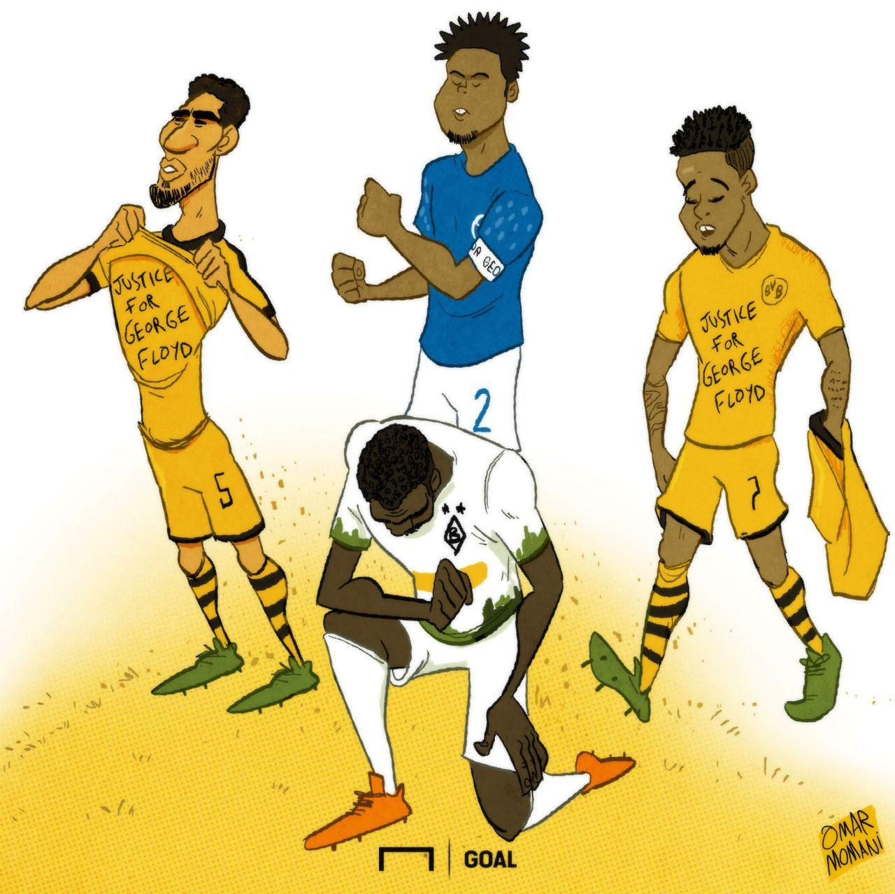 کارتون| زانوی فوتبالیستها روی گلوی پلیس آمریکا