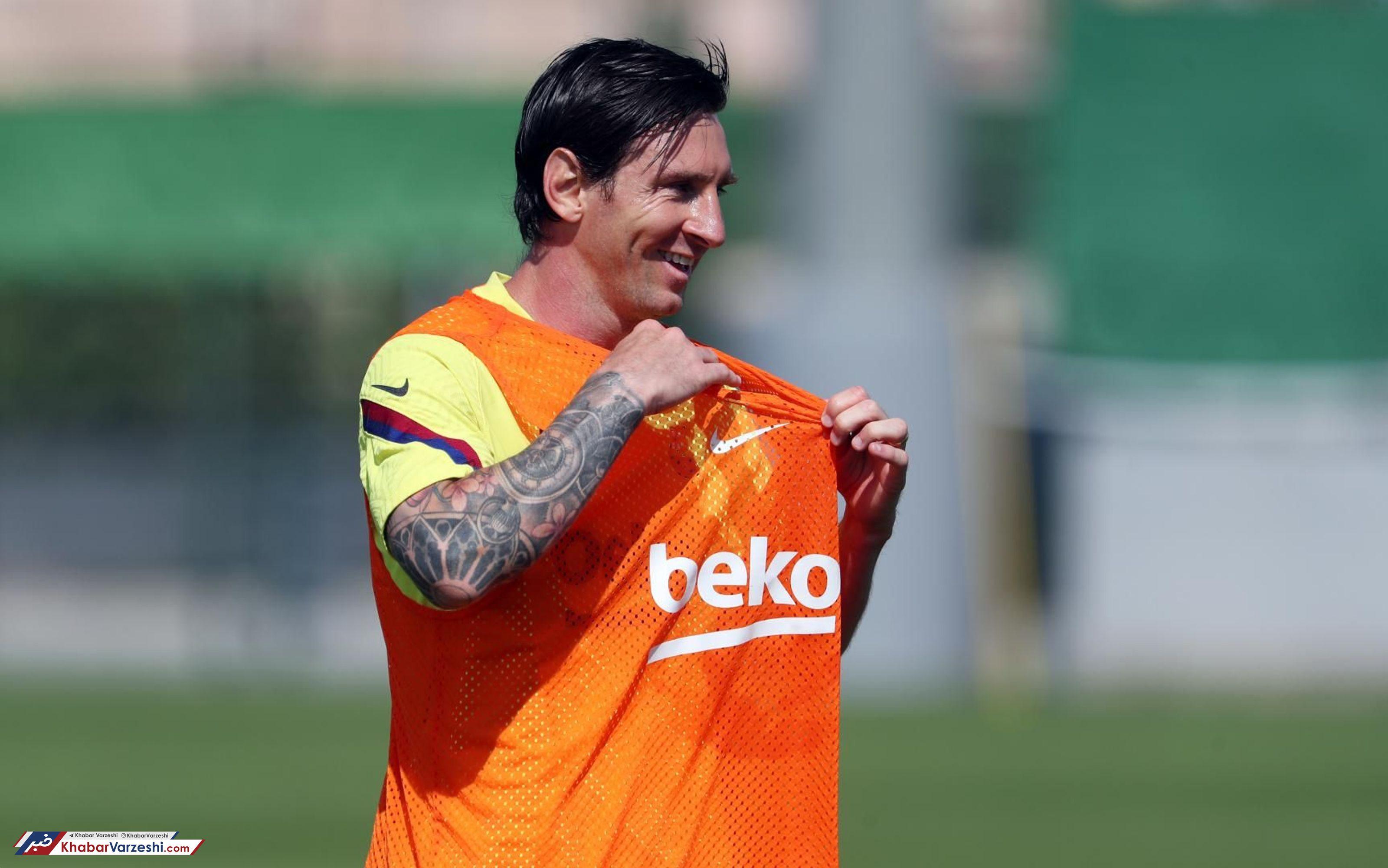 گزارش تصویری حضور لیونل مسی در تمرینات بارسلونا با ظاهری جدید