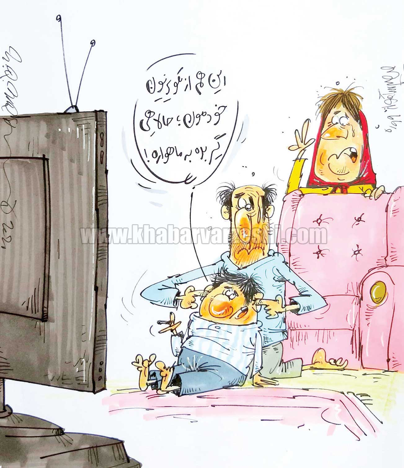 کارتون محمدرضا میرشاهولد درباره شوخی مجری تلویزیون