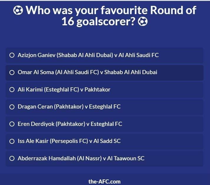 گل کریمی و آل کثیر نامزد بهترین گل مرحله یک هشتم نهایی لیگ قهرمانان