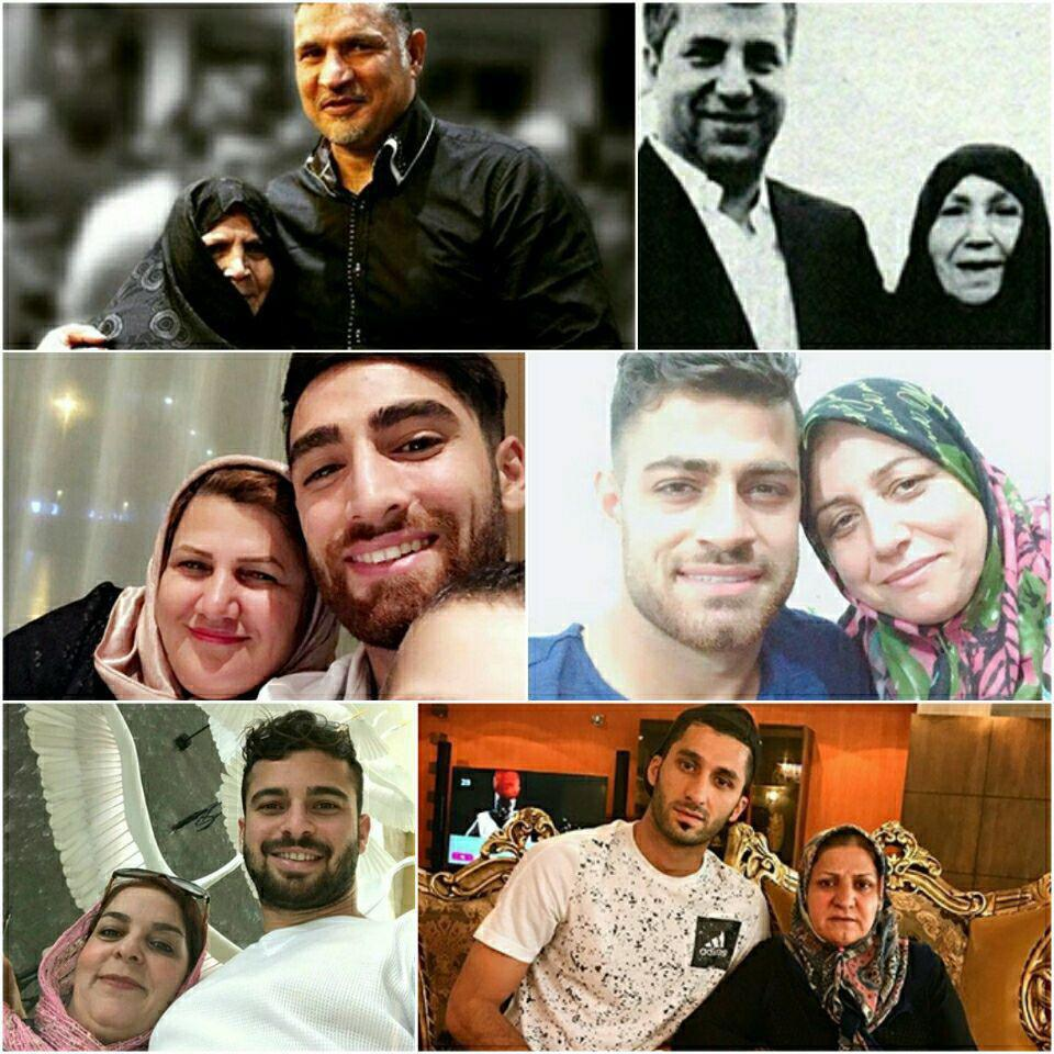 عکس  فوتبالیست ها در کنار مادران