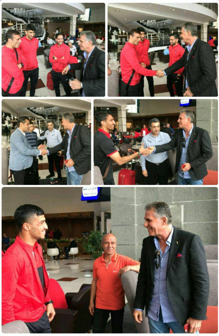 عکس  دیدار پرسپولیسی ها با کی روش در فرودگاه